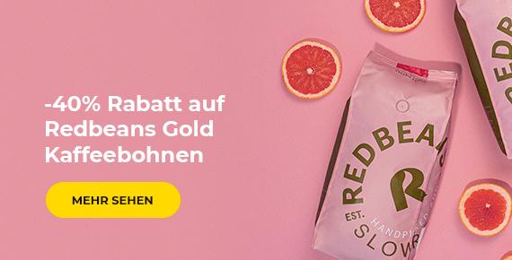 Redbeans Gold Kaffeebohnen -40 %.