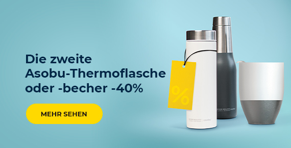 Die zweite Asobu-Thermoflasche oder -becher -40%