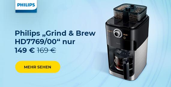 """Kaffeemaschine Philips """"Grind & Brew HD7769/00"""" nur 149 €"""